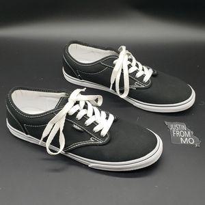 Vans lace up black low top shoes